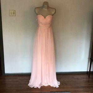 Blush pink strapless bridesmaid dress